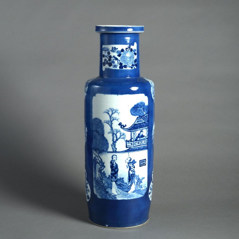 Chinese Large 19th Century Blue and White Porcelain Rouleau Vase For Sale