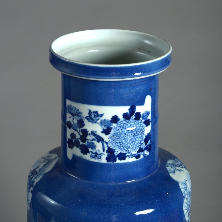 Large 19th Century Blue and White Porcelain Rouleau Vase In Good Condition For Sale In London, GB