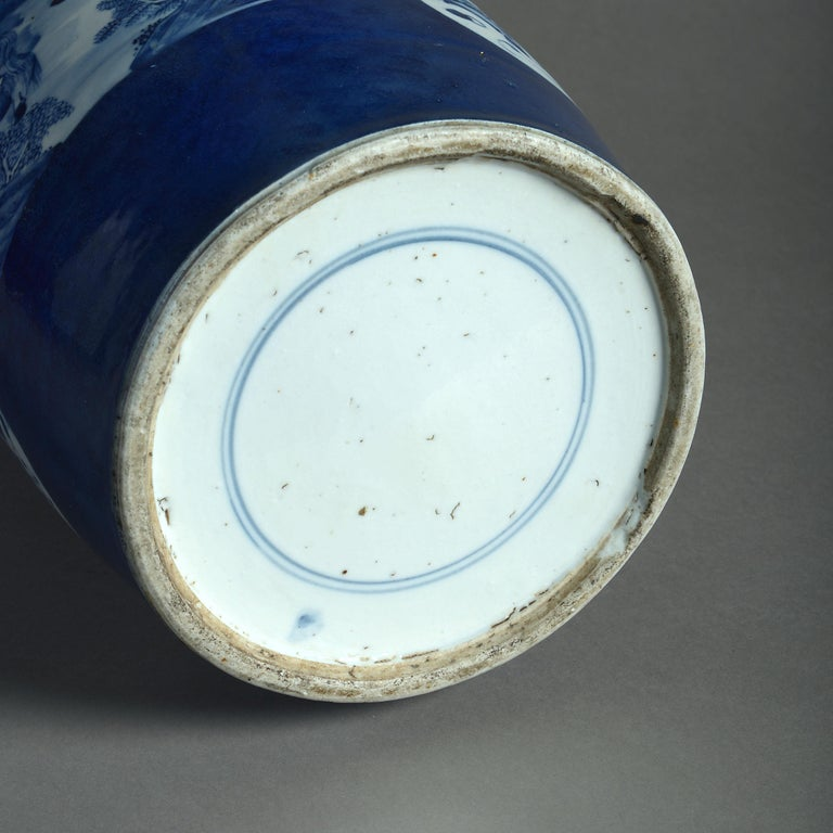 Mid-19th Century Large 19th Century Blue and White Porcelain Rouleau Vase For Sale