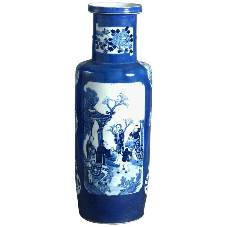 Large 19th Century Blue and White Porcelain Rouleau Vase For Sale