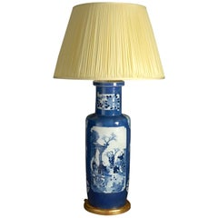 Large 19th Century Blue and White Porcelain Rouleau Vase Lamp