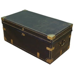 Large 19th Century Brass Bound Leather Trunk