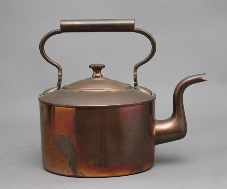Victorian Large 19th Century Brass Copper Kettle For Sale