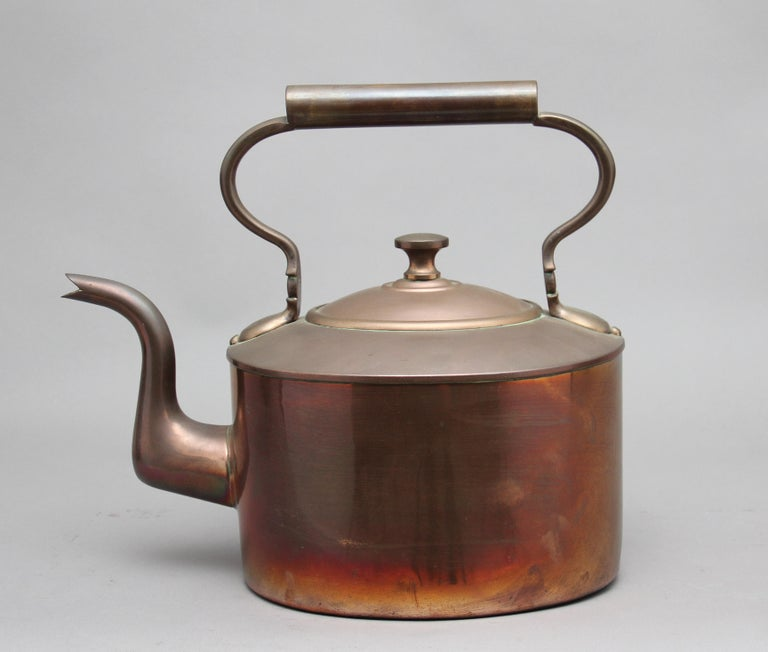 British Large 19th Century Brass Copper Kettle For Sale