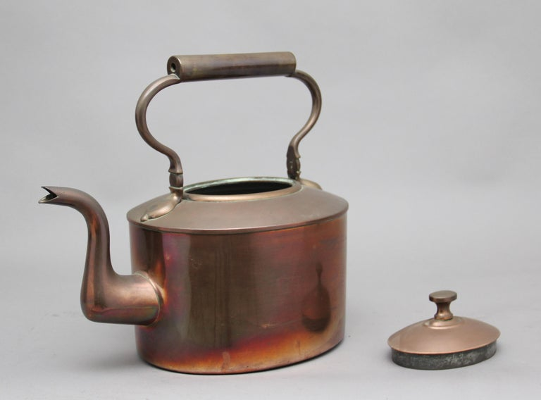 Large 19th Century Brass Copper Kettle In Good Condition For Sale In Martlesham, GB