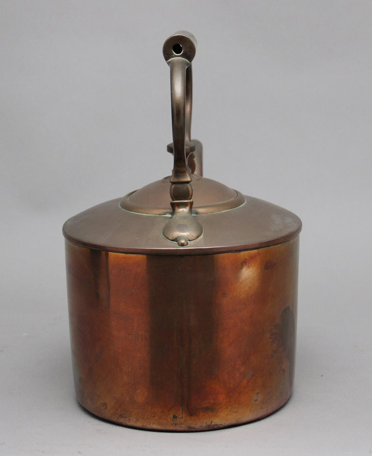 Large 19th Century Brass Copper Kettle For Sale 1