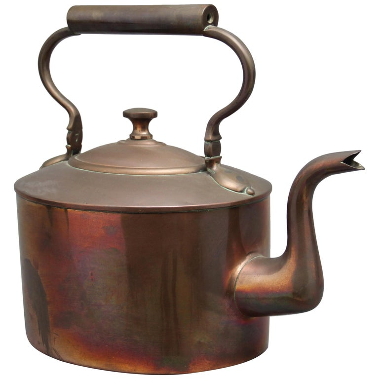 Large 19th Century Brass Copper Kettle For Sale