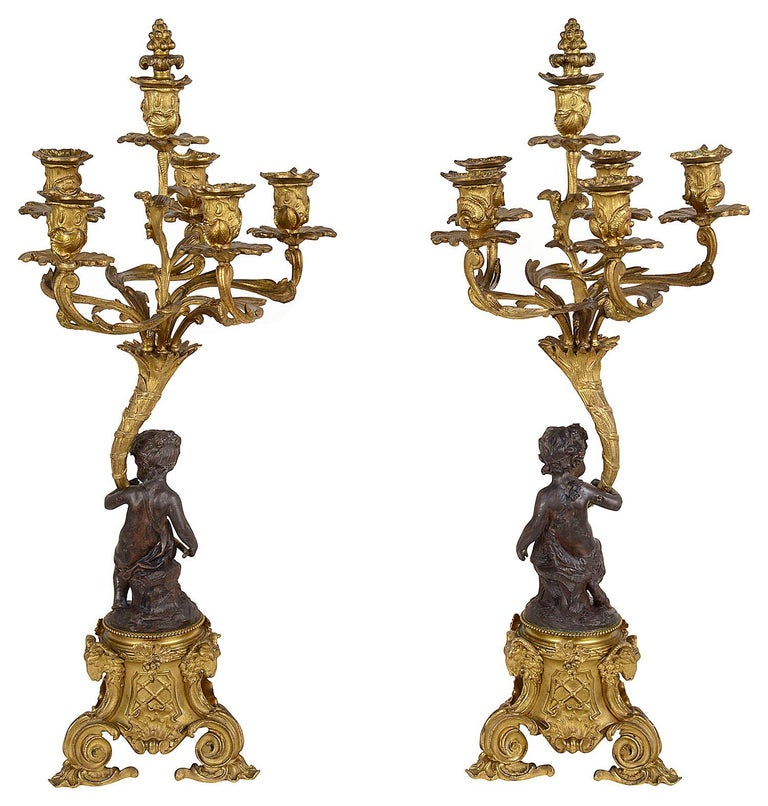 Large 19th Century Bronze Bachuss Clock Set, by Deniere For Sale 5