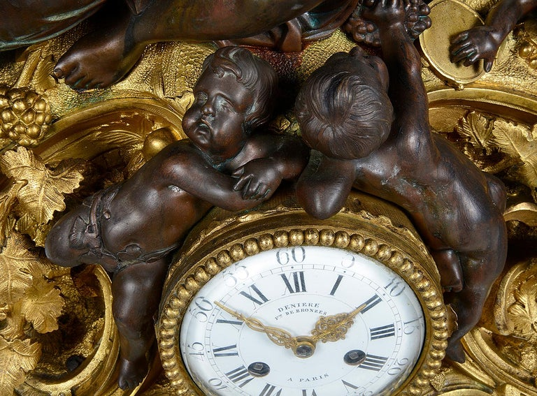 Large 19th Century Bronze Bachuss Clock Set, by Deniere For Sale 2