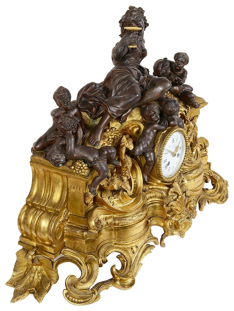 Large 19th Century Bronze Bachuss Clock Set, by Deniere For Sale 3