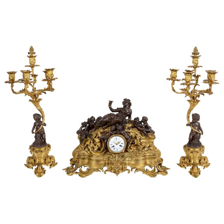 Large 19th Century Bronze Bachuss Clock Set, by Deniere For Sale