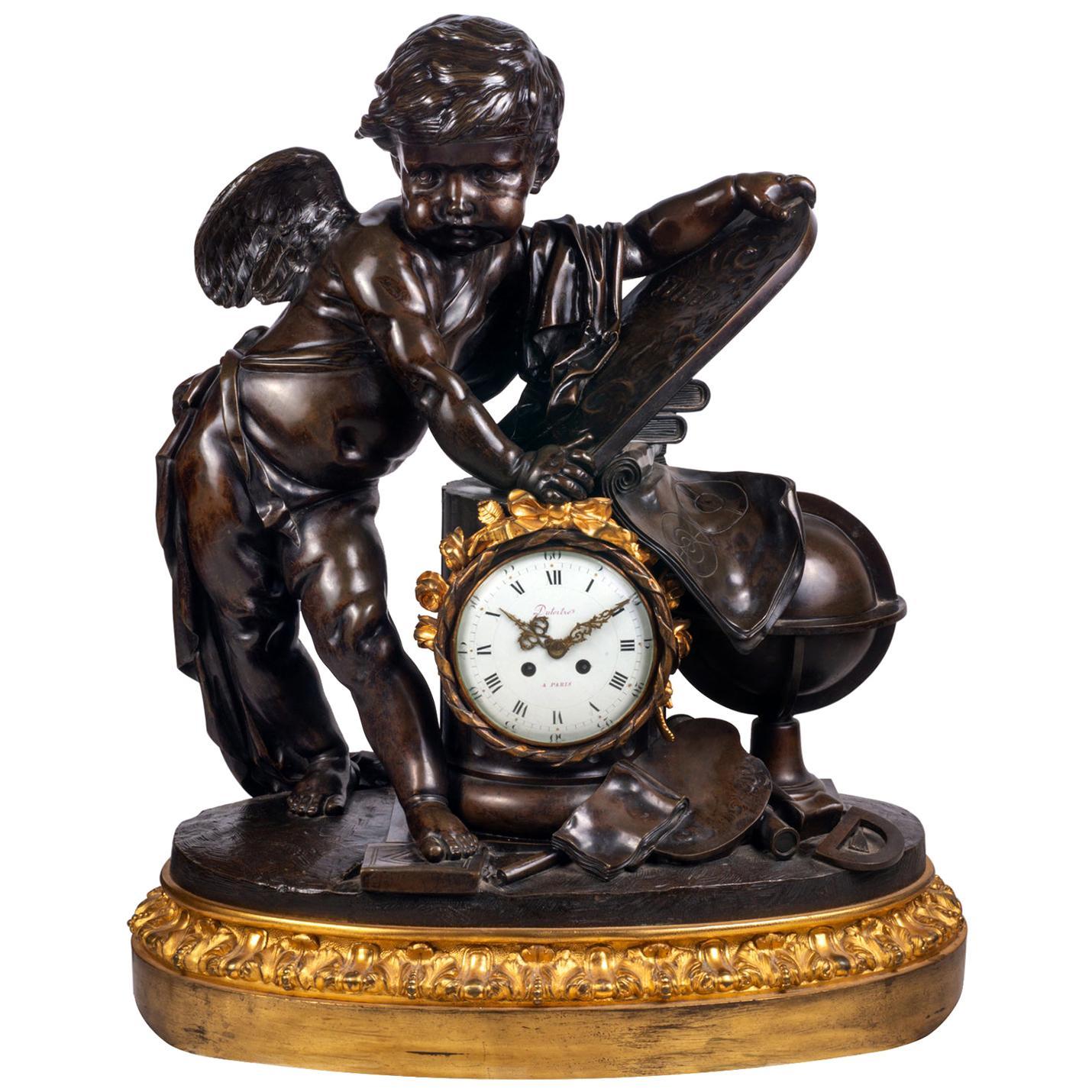 Large 19th Century Bronze Cherub Mantel Clock