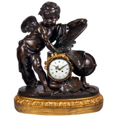 Large 19th Century Bronze Cherub Mantel Clock
