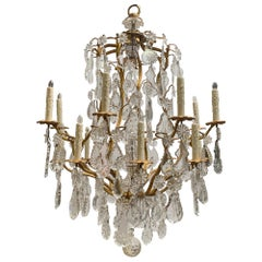 Large 19th Century Bronze Dore and Crystal Chandelier