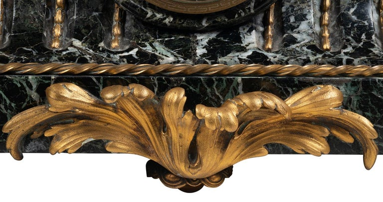 Large 19th Century Bronze Mantel Clock For Sale 5