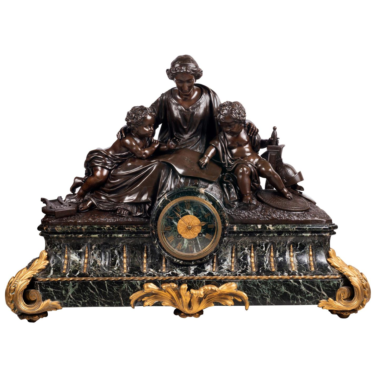 Large 19th Century Bronze Mantel Clock