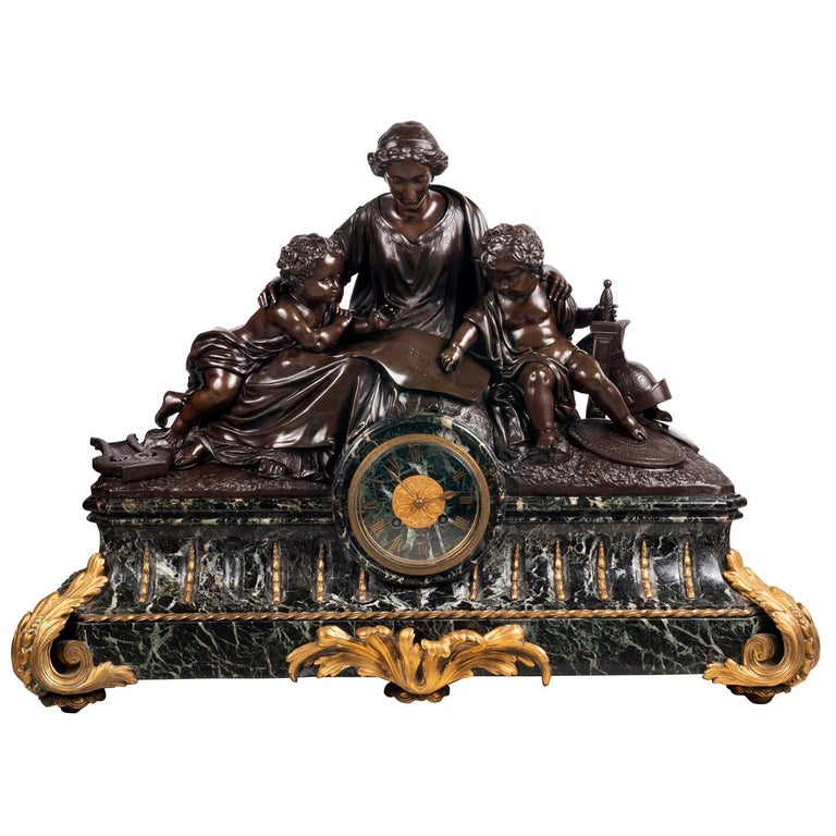 Large 19th Century Bronze Mantel Clock For Sale