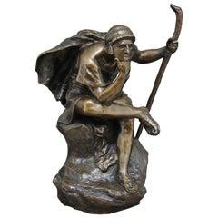 Large 19th Century Bronze of Oedipus Meditating