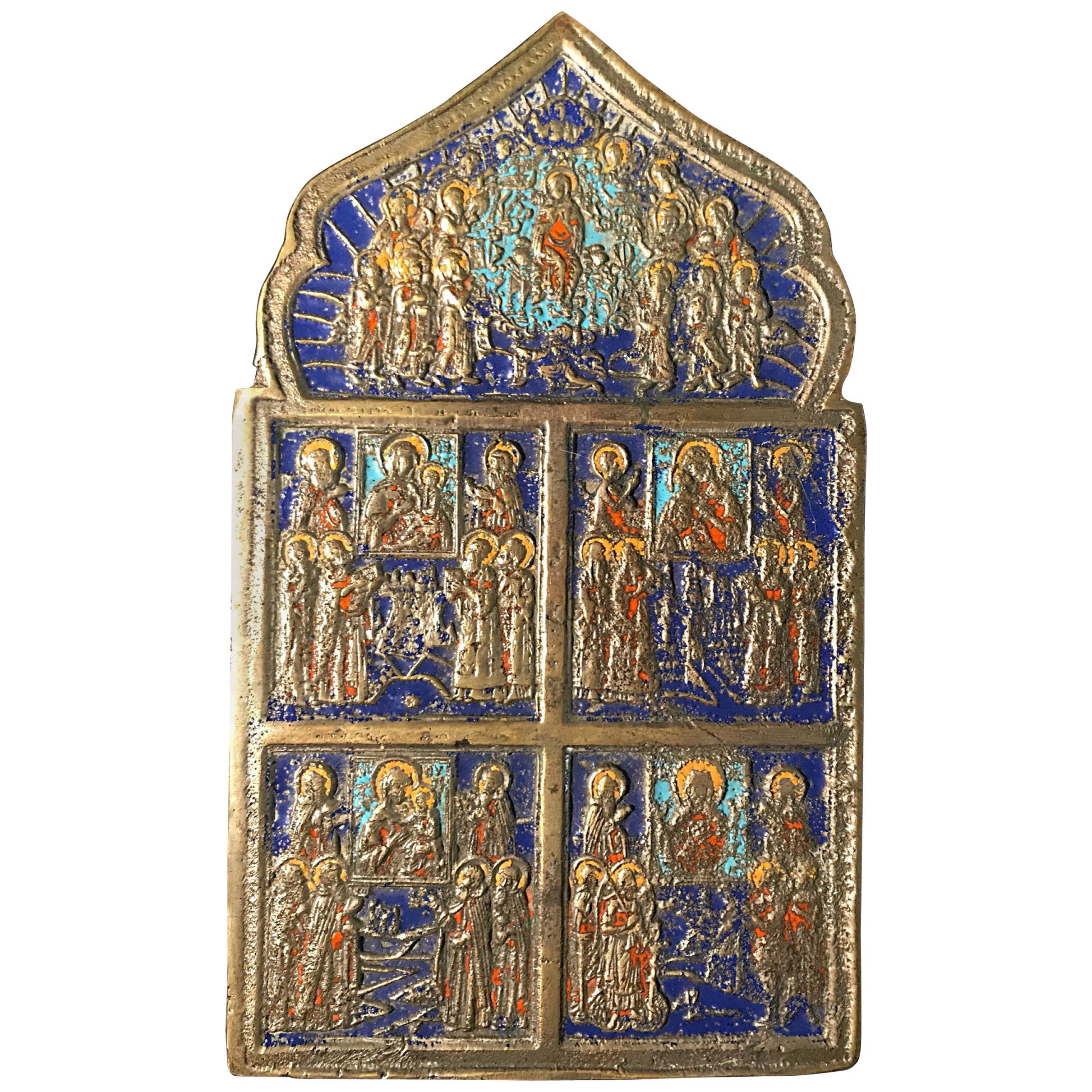 Large 19th Century Bronze Polychrome Enameled Russian Orthodox Travel Icon