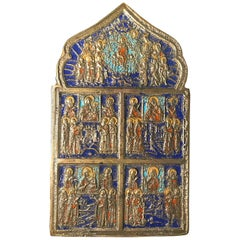 Large 19th Century Bronze Polychrome Enameled Russian Orthodox Travel Icon