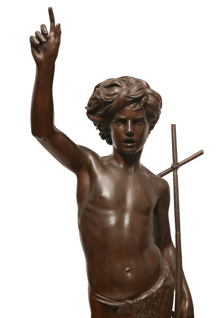 A large bronze sculpture of John the Baptist as a young boy. Signed by artist P. Dubois (b.1829-d.1905) Rome 1861, and with foundry F. Barbedienne Fondeur.