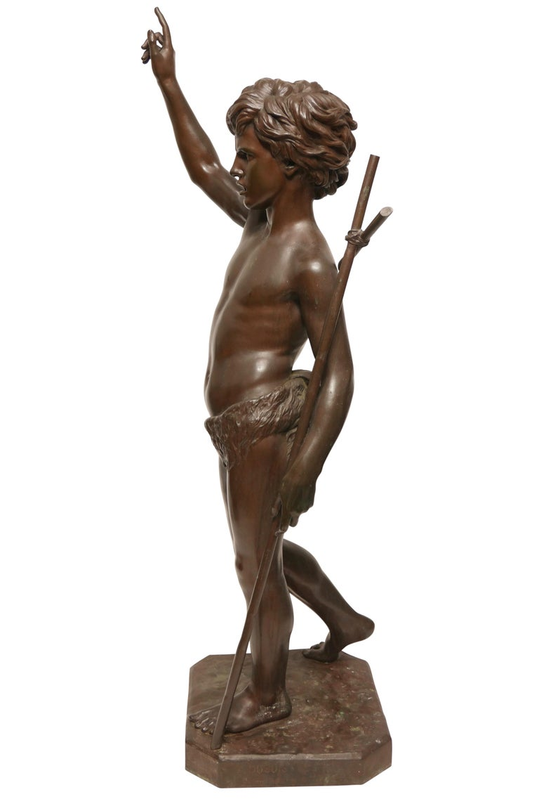 Italian Large 19th Century Bronze Sculpture of John the Baptist by Paul Dubois, 1861