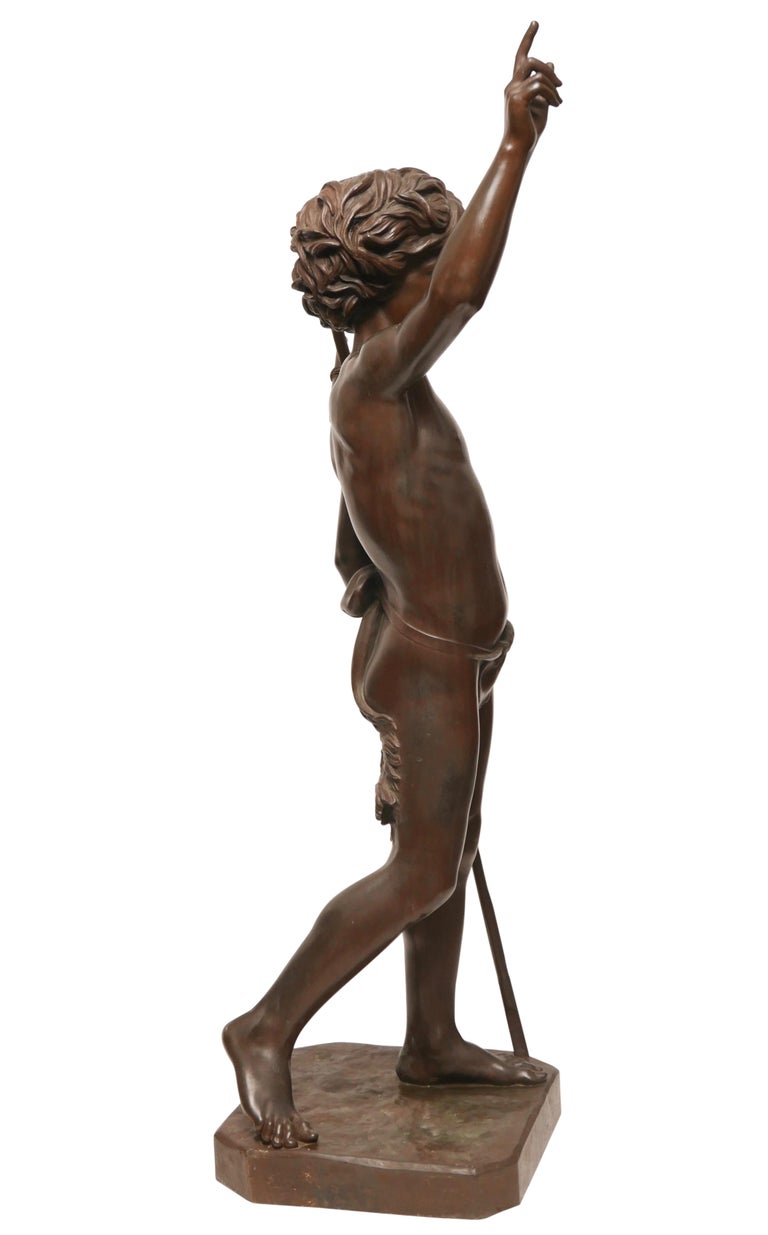 Large 19th Century Bronze Sculpture of John the Baptist by Paul Dubois, 1861 In Good Condition In San Francisco, CA