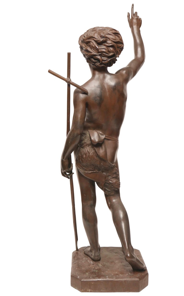 Large 19th Century Bronze Sculpture of John the Baptist by Paul Dubois, 1861 1