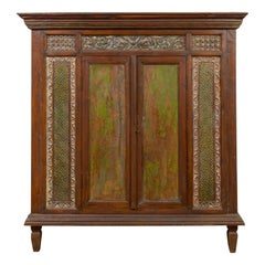 Large 19th Century Cabinet with Carved Floral Motifs and Distressed Verde Finish