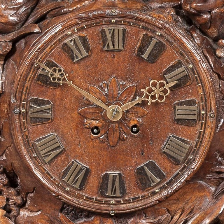 Wood Large 19th Century Carved Black Forest Mantel Clock For Sale
