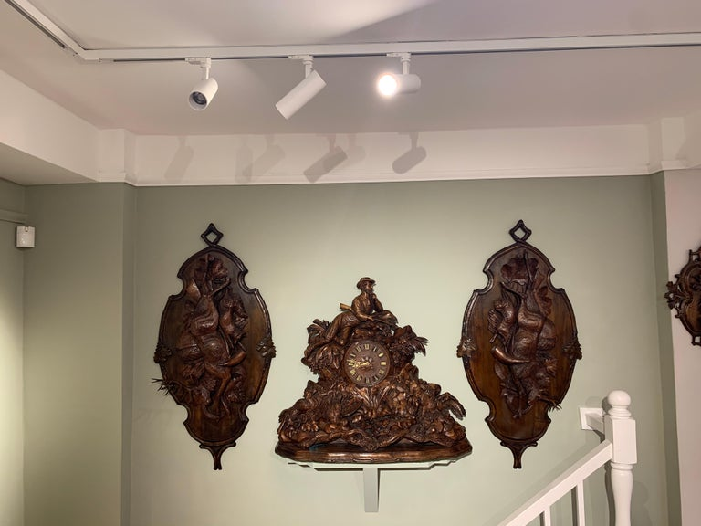 Large 19th Century Carved Black Forest Mantel Clock For Sale 1