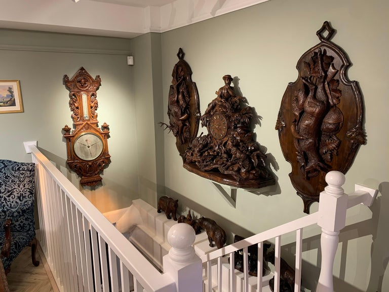 Large 19th Century Carved Black Forest Mantel Clock For Sale 2