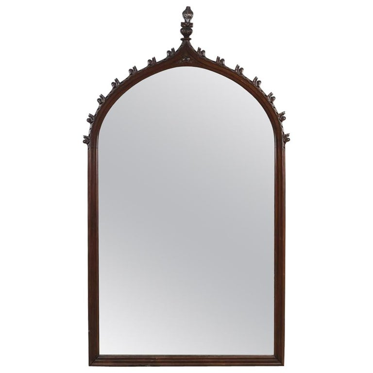 Large 19th Century Carved Oak Gothic Revival Mirror