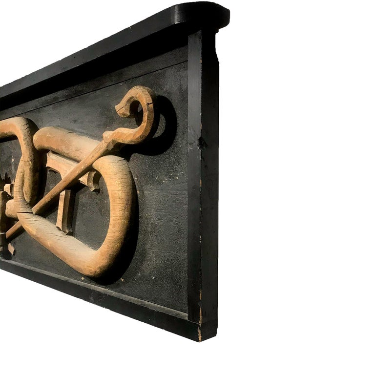 Large 19th Century Carved Wood Odd Fellows Lodge Sign In Good Condition For Sale In Nantucket, MA