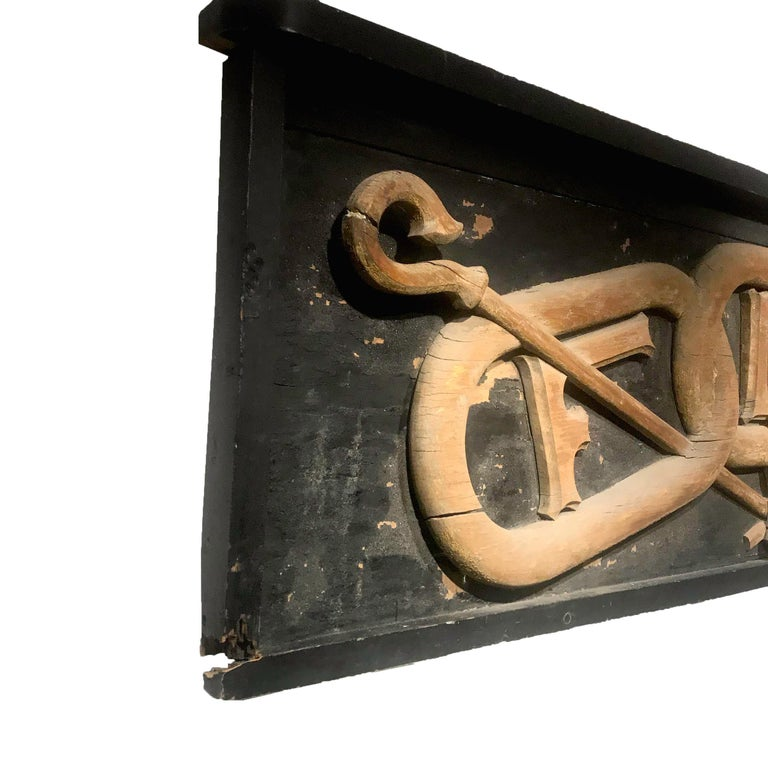 Large 19th Century Carved Wood Odd Fellows Lodge Sign For Sale 2