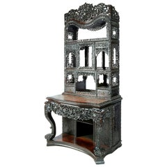 Large 19th Century Chinese Hardwood Console Table or Cabinet