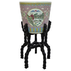 Large 19th Century Chinese Porcelain Jardinière on Carved Wooden Stand