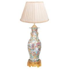 Large 19th Century Chinese Rose Medallion / Canton Vase / Lamp