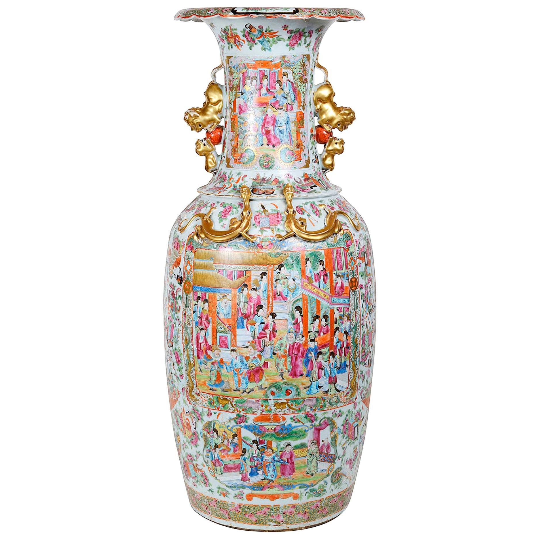 Large 19th Century Chinese Rose Medallion Vase