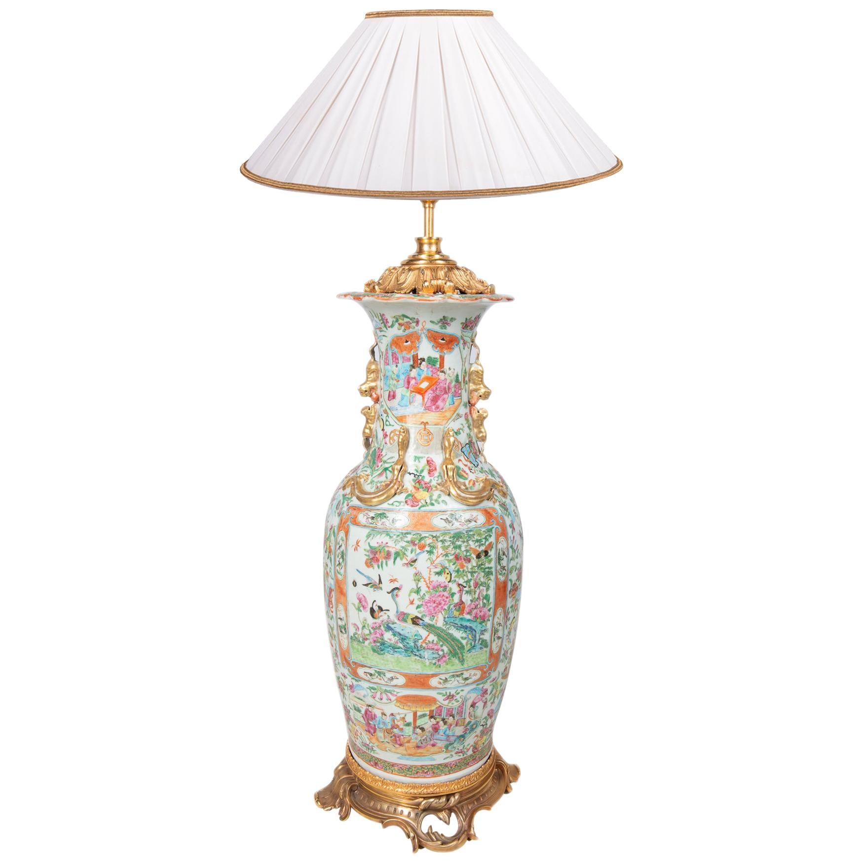 Large 19th Century Chinese Rose Medallion Vase / Lamp