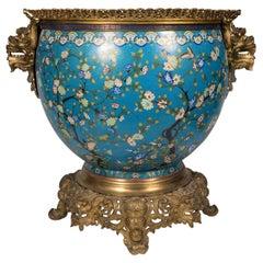 Large 19th Century Cloisonné Fish Bowl / Jardiniere, Christofle style.