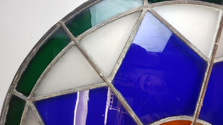 Large 19th Century Convex Stained Glass Window For Sale 3