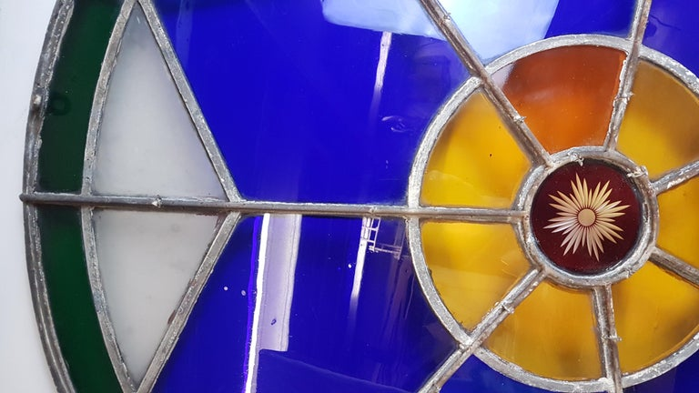 Large 19th Century Convex Stained Glass Window For Sale 4