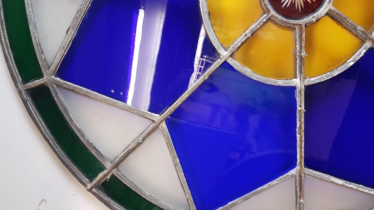 Large 19th Century Convex Stained Glass Window For Sale 5