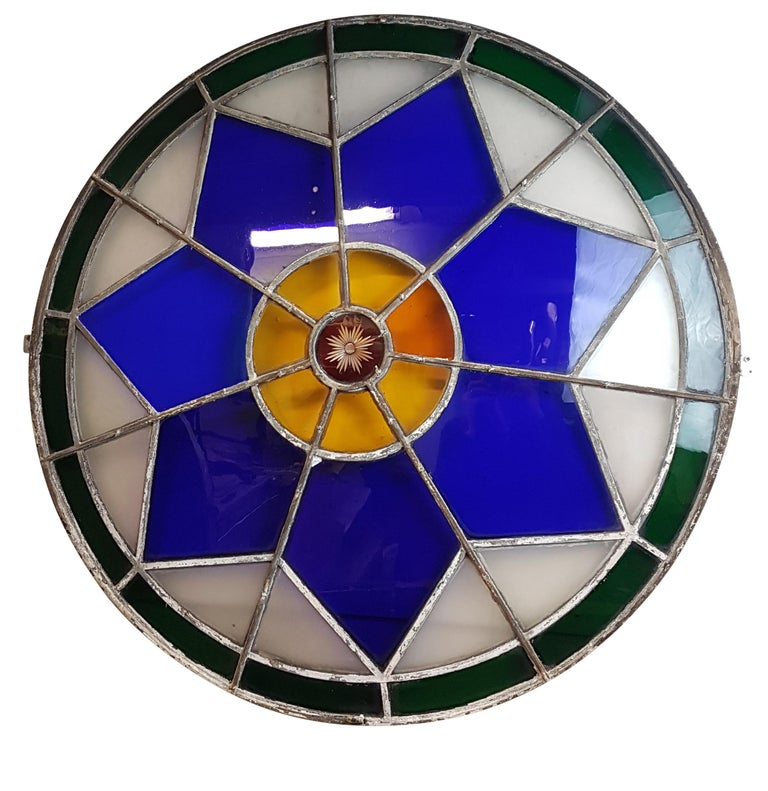 English Large 19th Century Convex Stained Glass Window For Sale