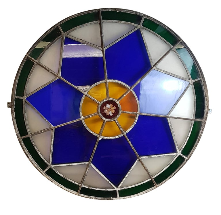 Glazed Large 19th Century Convex Stained Glass Window For Sale