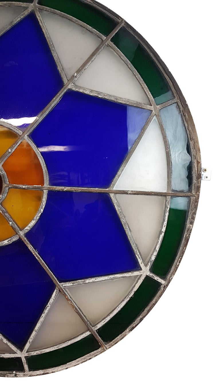 Late 19th Century Large 19th Century Convex Stained Glass Window For Sale