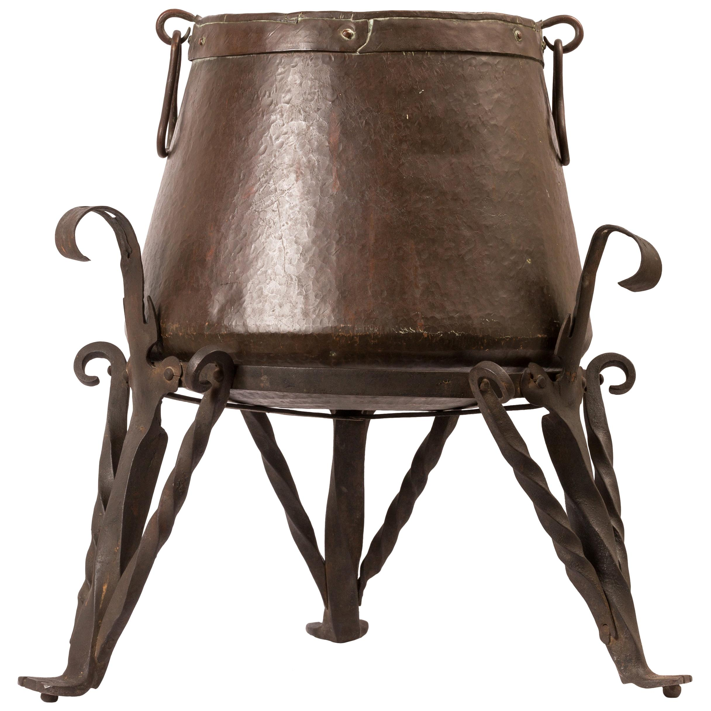 Large 19th Century Copper Cauldron / Planter on Wrought Iron Tripod Stand