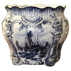 Large 19th Century Dutch Hand-Painted Blue and White Ceramic Delft Cachepot