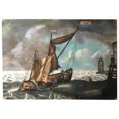 Large 19th Century Dutch Nautical Napoleonic Pastel Drawing on Paper
